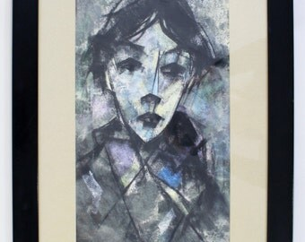 Mid Century Modern Cubist Painting of a Blue Man Signed Kambre