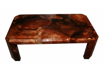 Mid Century Modern Karl Springer Attributed Lacquer Goat Skin Coffee Table