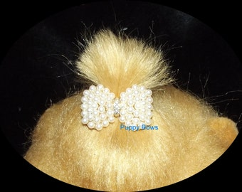 "Puppy Bows ~3 different styles PEARL rhinestone dog TIARA barrette pet hair clip small only 1""  ~USA seller"