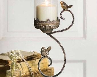 Victorian Songbird Pillar Holder