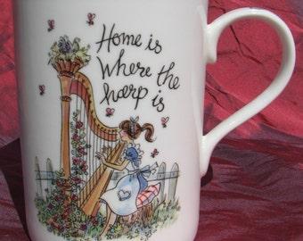 Home is Where the Harp is- Bone China Mug, music themed china mug, mug for musician, gift for harpist, gift for musician,music teacher gift