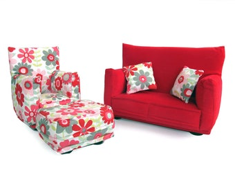 Barbie Doll Living Room Furniture 5-PC Play Set -1:6 scale-Red with Large Flowered print-works with any Blythe and 11 inch fashion doll