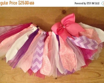 Pink, Purple, and White Scrap Fabric Tutu