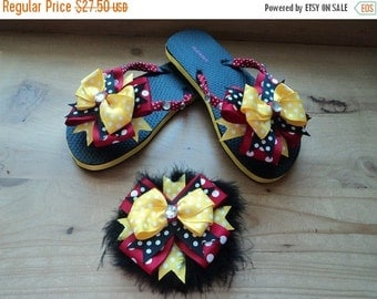 Red, yellow, and black over the top bow flip flops and hair bow set