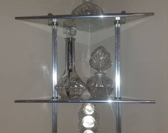 Mid Century 3 Tier Glass Corner Wall Shelf