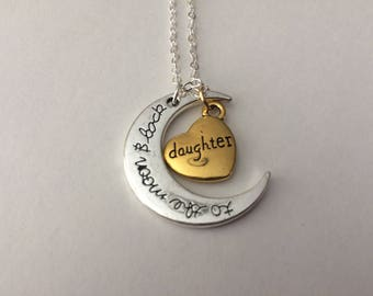 I love you to the moon and back Daughter necklace pendent gift love heart
