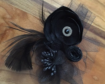 Black Ribbon Flower and Feather Hair Flower or Pin