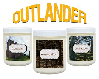 Outlander - Soy Candles - 3 Scented Candles Includes Castle Leoch, Wentworth Prison, Craigh Na Dun - 3 x 4 oz - Book Candles