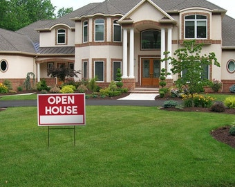 Open HOUSE Large Yard Sign, 18 Inches by 12 Inches (OPEN HOUSE)