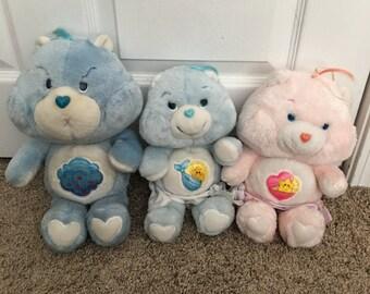 3 vintage Care Bear plush
