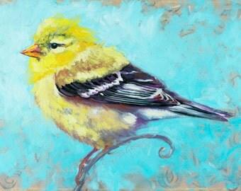 PRINT golden finch, bird art, bird print, golden finch art, wildlife art, fine art print, Annetta Gregory Art, Christmas gift