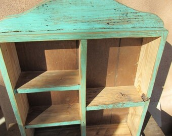 Vintage Southwestern Wood Shelf Reclaimed Wood Turquoise Distressed Paint