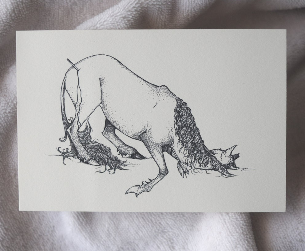 Nico the unicorn coloring pages - Unicorn Drawing Unicorn Postcard Unicorn Drawing Dead Unicorn Fantasy Art Unicorn Hunt Hunted Unicorn Sad Unicorn Art A6 Print