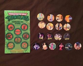Teenage Mutant Ninja Turtles TMNT Pogs Milkcaps Slamcaps by Slamco New Sealed Gold Foil 90s Rare Vintage + Bonus Beavis and Butthead Set