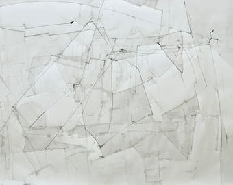 Original Large 40x60 Art Drawing, White Fine Art, Abstract Contemporary Drawing
