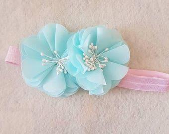 Aqua and pearl flower baby headband on pink elastic