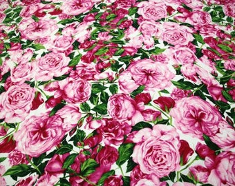 """SALE!!! Mother's Day, 1m-Cotton fabric, pink rose style, Printed rose fabric  - 56""""(142cm) Wide"""