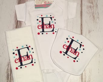 Personalized Onesie Gift Set - Onesie, Bib and Burp Cloth