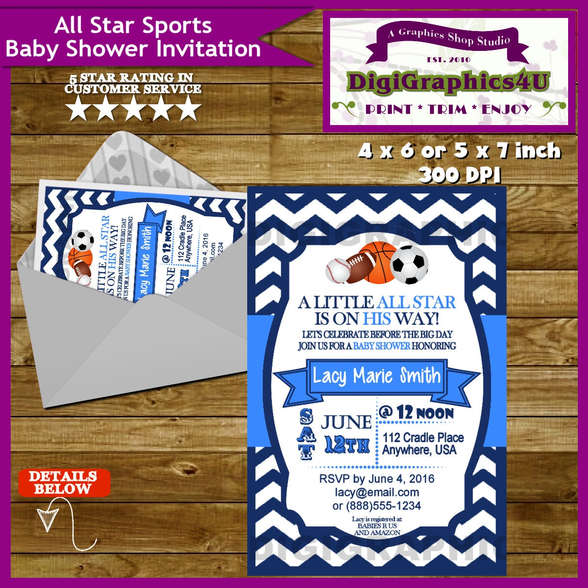 all star sports baby shower invitation and or party package