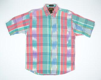 90s Eddie Bauer Shirt L - Madras Plaid Shirt L - Vintage Colorful Madras Plaid Shirt Men's Large - Short Sleeve Plaid Shirt L - Button Down
