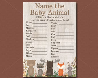 Woodland Baby Shower Game, Name The Baby Animals Game Printable, Forest Animals Shower, Woodland animals baby shower Instant Download  016