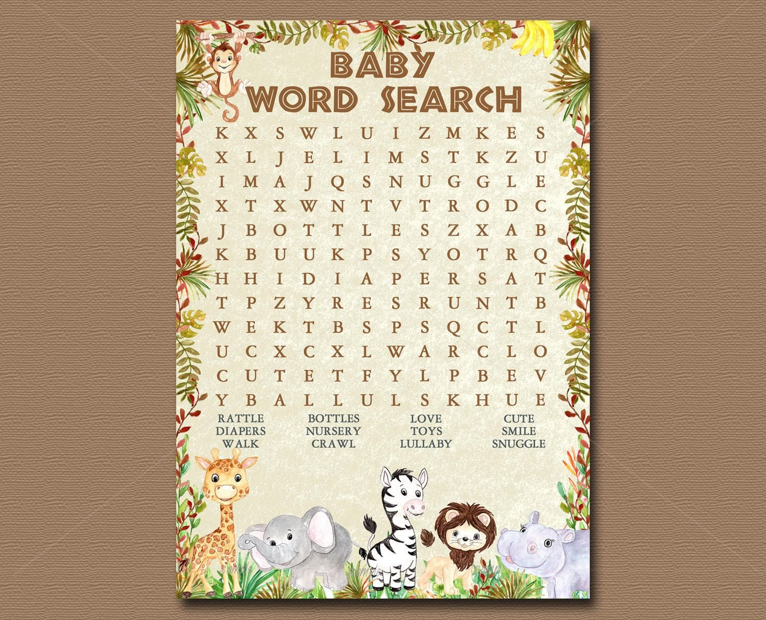 Jungle Animals Baby Shower Game Word Search Game Printable