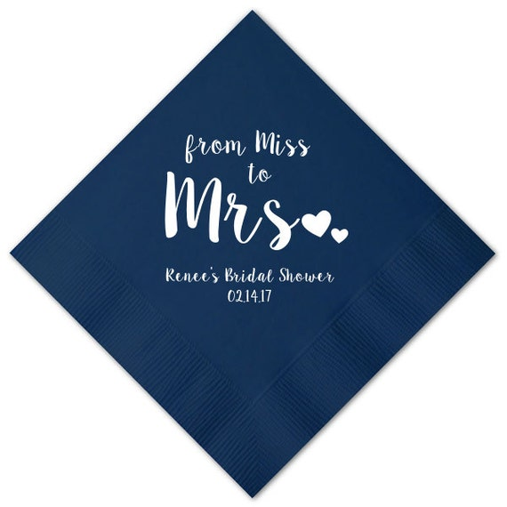 100 Personalized Napkins Bridal Shower From Miss To Mrs