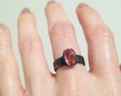 SALE Pink Tourmaline Oxidized Copper Ring, Electroformed ring, Electroplated Ring, size 4.5 ring