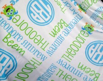 Personalized Little Monster Baby Blanket - Monster Theme Receiving Blanket - Custom Name Baby Blanket - Newborn Swaddle for Baby Boys