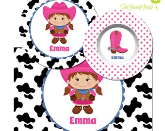 Cowgirl Personalized Plate - Kids Plate, Bowl & Placemat - Cowgirl Dinnerware for Girls - Custom Kids' Tableware with Cowgirl