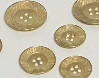 Gold button, Vintage button, Round Gold button, Sew through button, Textured Button, Sweater Button, Bracelet button, Multiple sizes