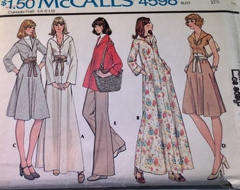 """McCall's 4598, 1970's Vintage Sewing Pattern, Size 8, Bust 31 1/2"""", Flare Dress in Two Lengths, Bell Bottom Pants, 70s Vintage BoHo, Caftan"""