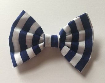Blue and white stripe bow