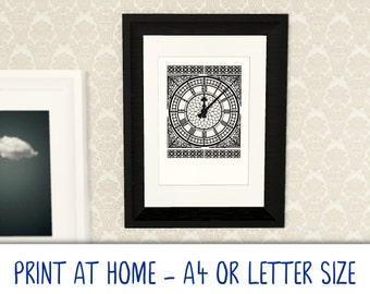 Printable A4/Letter art poster · Big Ben Clock Face · print at home · DIY Gallery Art Wall · digital download · Cool Modern Black & White