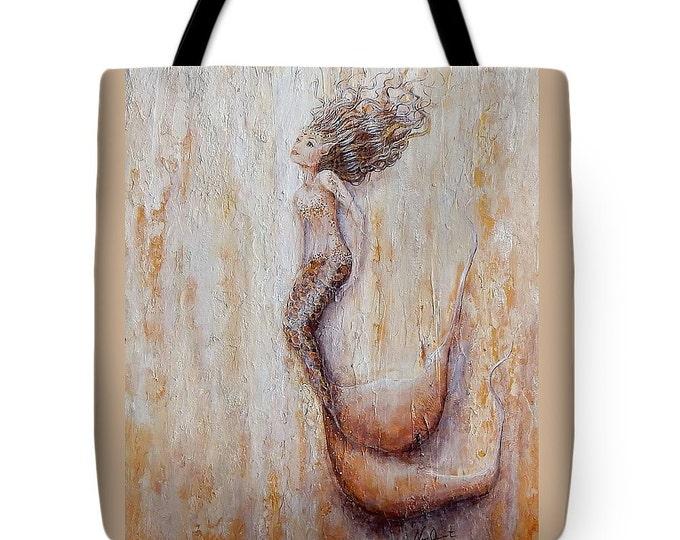Beautiful beige mermaid tote bag, mermaid purse,  mermaid beach tote, original painting by Nancy Quiaoit