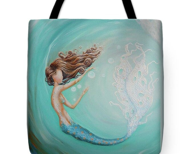 Mermaid tote bag, mermaid purse,  mermaid teal beach tote bag, original painting by Nancy Quiaoit