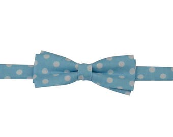 Little boys bow tie, Light blue bow tie, Blue dots bow ties, bow tie looks, custom bow tie