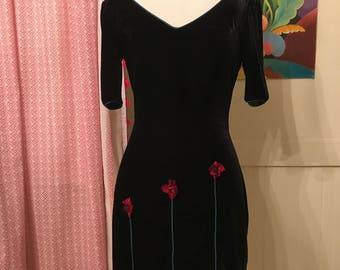 1990s Black Velvet Mini Dress