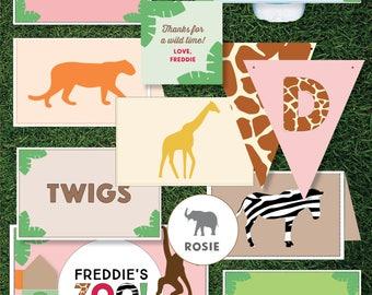 Girls Zoo Themed Birthday - Printable (Animals / Safari / Jungle Theme)