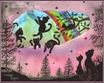 Heaven for Cats, Rainbow Bridge, Angel Cats, Bereavement, Loss of pet,  watercolor print or card, Shadow Kitties Item 525a