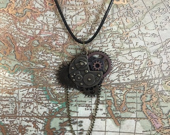 Steampunk Gear Chain Pendant Necklace