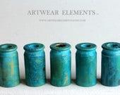 Bullet Shells, Primitive Art Shell Casings, Spent .45, Bead Caps Hand Oxidized Caps, OOAK Art Shells, ArtWear Elements, Bead Caps, Casings