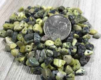 Yellow Turquoise Gemstone Chips, Pre Drilled Green Stone Chips, Gemstone Chip Beads, Green and Yellow Stone Chips