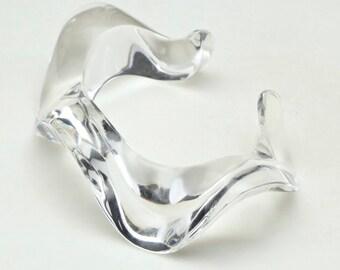 Vintage Clear Shiny Lucite Wavy Cuff Bracelet Organic Modernist Retro