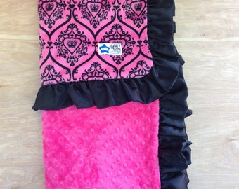 30x36 Baby Blanket- Hot Pink Crowns