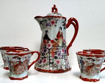 Antique Chocolate Pot w/4 cups -Geisha Girl Garden scene Beautiful set-Gold Gilt