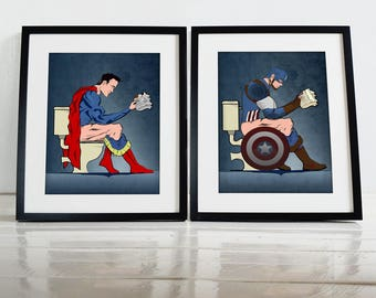 Superhero Superman and Captain America On the Toilet comic book Wall Art Hanging Print Home Décor History