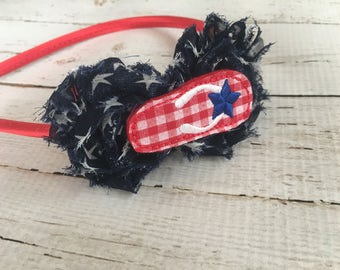 4th of July Headband for Girls - Star Print Flower Head Band - Patriotic Headband - Flip Flop Headband - Red Satin Headband for Teens -