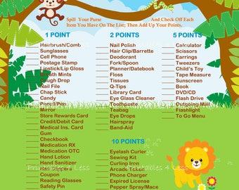 Safari Purse Game, Jungle Purse Game, Whats In Your Purse, Mommys Purse Game, Shower Purse Game, Purse Raid Game - Printables 4 Less 0074