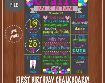 Cute as a button birthday chalkboard - Birthday Chalkboard File - Printable - 1st Birthday Sign - Colorful - Girl Birthday - Pink/Blue/Green